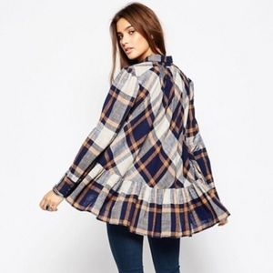 Free People Peppy in Plaid button down tunic, L